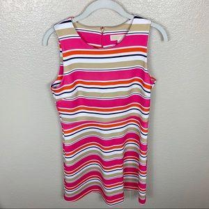 Michael Kors A Line Striped Pink, White, Tan Dress